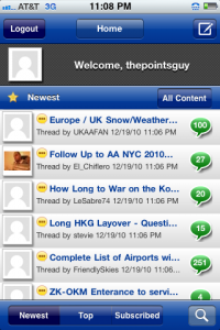 The Flyertalk iPhone app keeps me updated on the go.