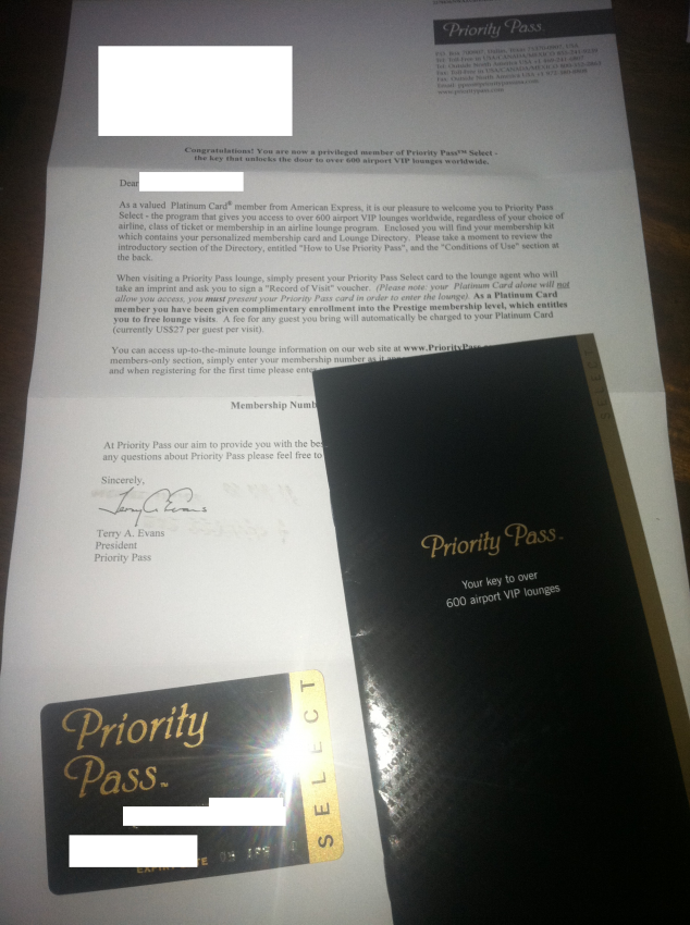 amex platinum priority pass select arrived in the mail
