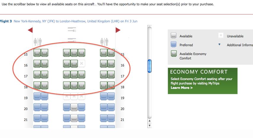 Delta Airlines Comfort Plus Seats