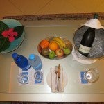 My welcome basket of fruit, bottle water and wine--just what I needed to unwind after check in.