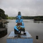 One of the Hindu gods overlooking Grand Bassin's sacred lake.