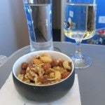Warm nuts and sparkling wine--great way to start a meal.