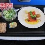 Smoked salmon with smoked potatoes and cream of horseradish in orange-lime dressing.