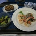 Just a little snack before landing, prawns and salad.