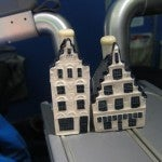 KLM's famous Delft Blue buildings filled with Dutch genever gin--the ultimate business class amenity!