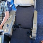 My business class seat. Narrow but comfy.
