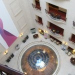 The hotel's beautifully restored lobby, shot from above on my room floor.