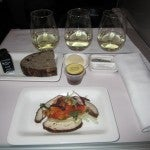 The five-spice chicken appetizer along with Glenmark Riesling, Zephyr Sauvignon Blanc and Bouldevines Chardonnay.