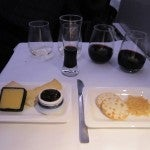 My cheese plate plus the two on-board reds: Wild Earth Pinot Noir and Villa Maria Syrah...and Taylor's First Reserve Port.