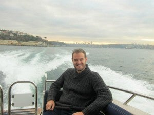 Enjoying a relaxing moment speeding along the Bosphorus.