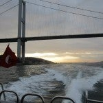 Our private boat trip along the Bosphorus under the graceful Bosphorus Bridge.