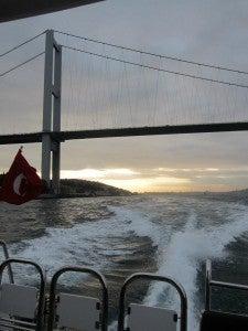 Our private boat trip along the Bosphorus under the graceful Bosphorus Bridge.