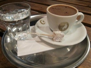 Super strong Turkish coffee at a cafe across from Ciya Sofrasi.