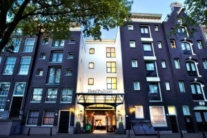 The exterior of the Hotel Pulitzer--a series of 25 converted historic Amsterdam canal houses.
