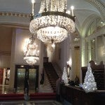 The lobby of the Westin Excelsior--you don't see chandeliers like this anymore!