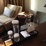 My wine and fruit Hyatt Diamond welcome amenity.