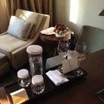 My wine and fruit Hyatt Diamond welcome amenity.