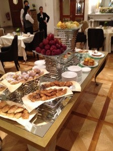 The baked goods table at the sumptuous breakfast buffet.