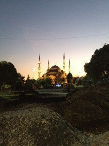 The Sultan Ahmed, or Blue Mosque, viewed from afar at twilight.