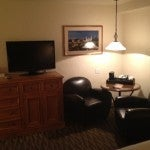 Another shot of the TV and sitting area.