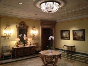 The elevator waiting area - all Old World elegance.