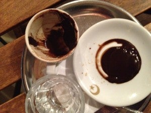"""Coffee at an authentic Turkish cafe, where TPG reader Marina read my fortune--apparently my grounds showed her an """"angry goat""""!"""