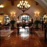 The Spanish colonial-style lobby at the Four Seasons Santa Barbara Biltmore.