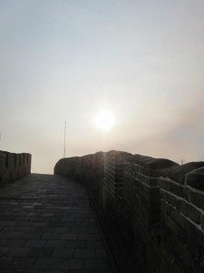 A lonely stretch of the Wall on a freezing winter's day.