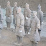 """Some of the warrior's in the museum's """"hospital"""" section who are getting fixed up to put back on display."""