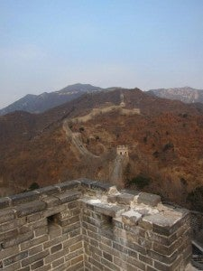 Looking along the Wall as it stretches out for miles and miles into the distance.