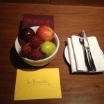 The Hyatt Diamond welcome amenity waiting in my room.