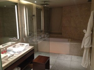 My huge bathroom--loved the LED lighting on the sinks and bathtub.