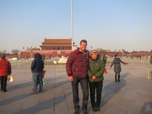 My guide, Jenny, and me in Tiananmen Square--it was an awesome place to see.