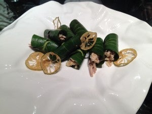 Another beautiful appetizer with chicken wrapped in banana leaf with lotus root.