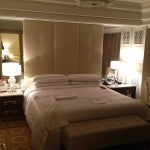 My suite's master bedroom with king-size bed. I like the modern-style furnishings with Chinese accents.