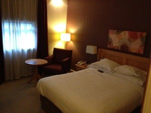 My day room at the Sheraton Heathrow. Basic but comfortable.