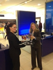 Welcoming us to the BA lounge at Heathrow Terminal 5 with Taittinger champagne and Bollinger rose.