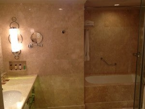 The bathroom in pinkish marble--pretty nice for a Sheraton, though just one sink.