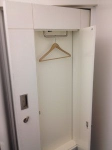 You put your suit in the wardrobe and they press it while you shower.
