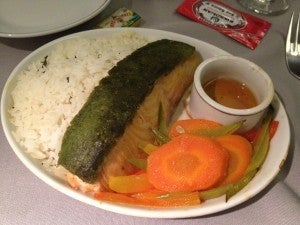 My main course: ginger-pesto salmon with carrots, snow peas, bell peppers and shiso rice. The rice was dry, the salmon was so-so. Not quite fine dining in the sky.