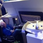 Megadoers enjoying testing out the new BA first class.