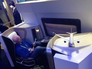 Megadoers enjoying testing out the new BA first class.