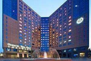 The Sheraton Xian--all business on the outside, but comfortable inside.