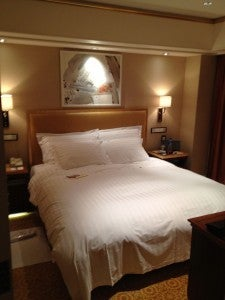 The bedroom of my Statesman Suite with king-size bed. Not a huge room, and nothing too ornate, but comfy.