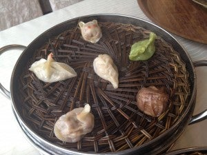 18 assorted dumplings at lunch- some shaped like birds