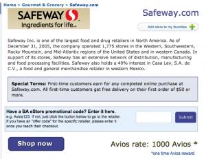 1,000 British Airways Avios for $50 Safeway Purchase + Free Shipping