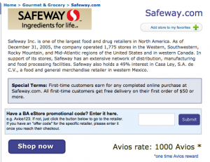 1,000 British Airways Avios for $50 Safeway Purchase + Free Shipping