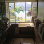 The Prince Junior Suite full bath suite with a window overlooking Hanalei Bay that you can shade or brighten electronically with a switch on the wall.