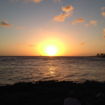 Sunset from Poipu Beach near the Beach House restaurant. Perfect!