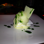 Dessert at Kauai Grill: white chocolate and yuzu pavlova with thai basil syrup.